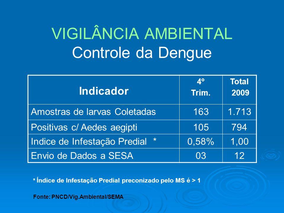 VIGILÂNCIA AMBIENTAL Controle da Dengue