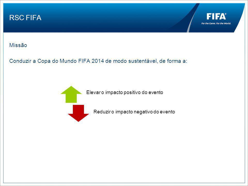 RSC FIFA Missão Conduzir a Copa do Mundo FIFA 2014 de modo sustentável, de forma a: Elevar o impacto positivo do evento.