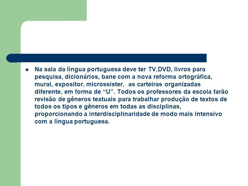 Na sala da língua portuguesa deve ter TV,DVD, livros para pesquisa, dicionários, bane com a nova reforma ortográfica, mural, expositor, microssister, as carteiras organizadas diferente, em forma de U .