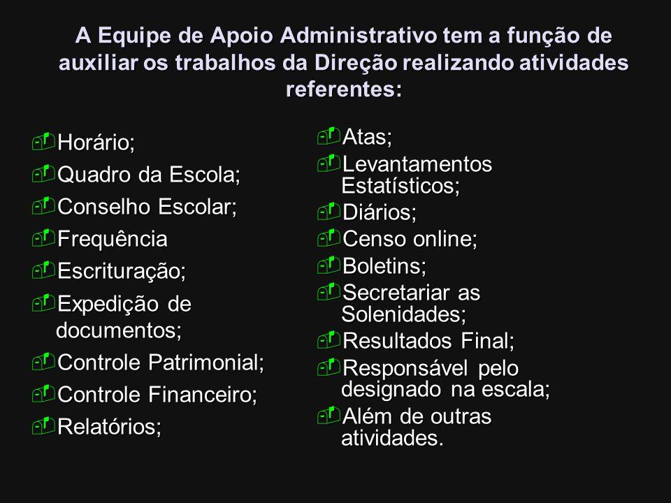 A Equipe de Apoio Administrativo tem a função de auxiliar os trabalhos da Direção realizando atividades referentes:
