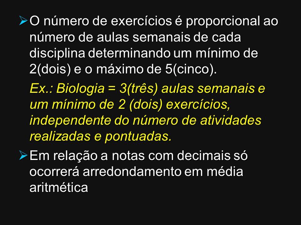 O número de exercícios é proporcional ao número de aulas semanais de cada disciplina determinando um mínimo de 2(dois) e o máximo de 5(cinco).