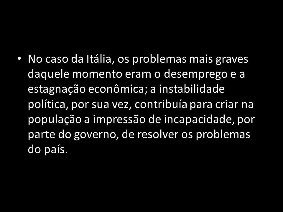 No caso da Itália, os problemas mais graves daquele momento eram o desemprego e a estagnação econômica; a instabilidade política, por sua vez, contribuía para criar na população a impressão de incapacidade, por parte do governo, de resolver os problemas do país.