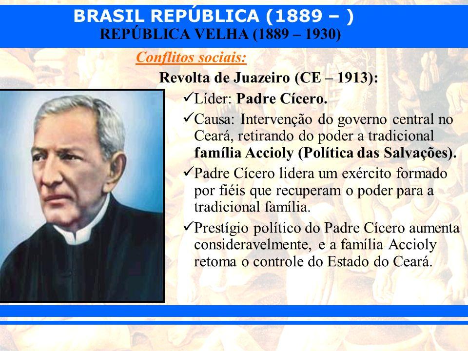 Conflitos sociais: Revolta de Juazeiro (CE – 1913): Líder: Padre Cícero.