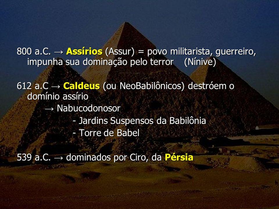 800 a.C. → Assírios (Assur) = povo militarista, guerreiro, impunha sua dominação pelo terror (Nínive)