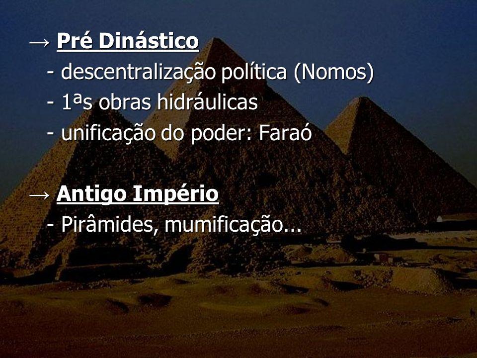 → Pré Dinástico - descentralização política (Nomos) - 1ªs obras hidráulicas. - unificação do poder: Faraó.