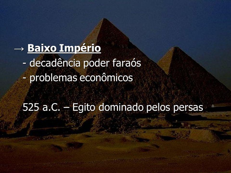 → Baixo Império - decadência poder faraós. - problemas econômicos.