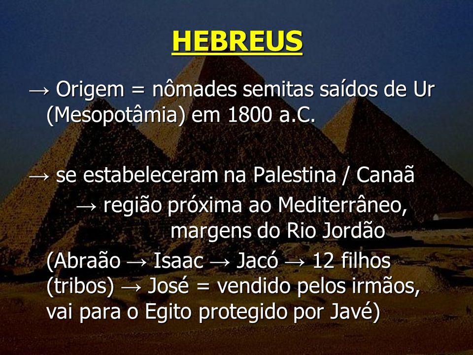 HEBREUS → Origem = nômades semitas saídos de Ur (Mesopotâmia) em 1800 a.C. → se estabeleceram na Palestina / Canaã.