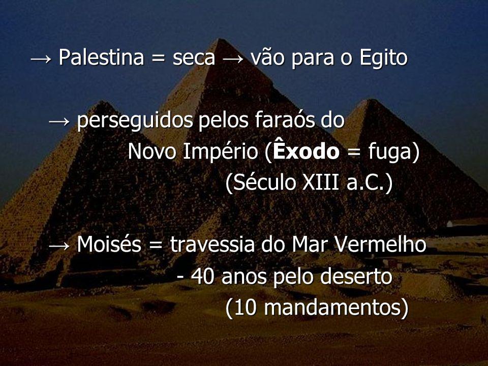 → Palestina = seca → vão para o Egito