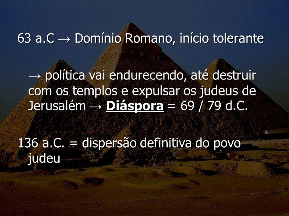 63 a.C → Domínio Romano, início tolerante
