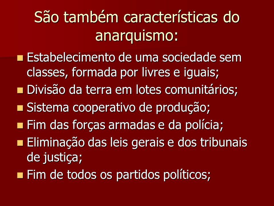 São também características do anarquismo:
