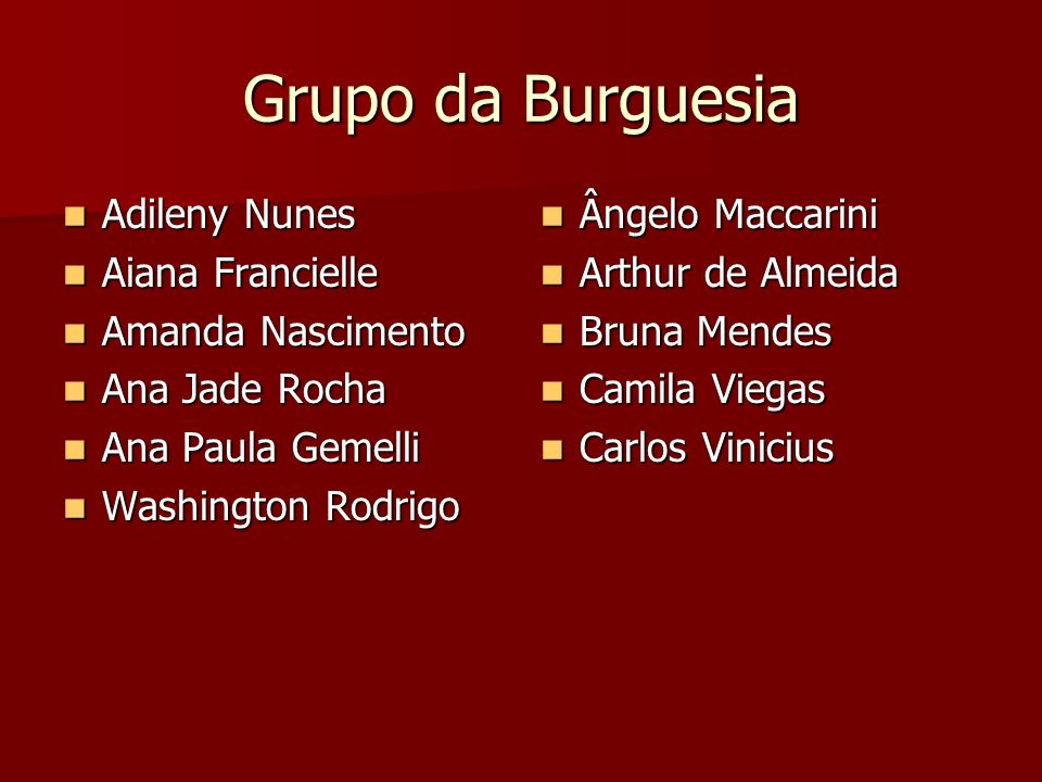 Grupo da Burguesia Adileny Nunes Aiana Francielle Amanda Nascimento