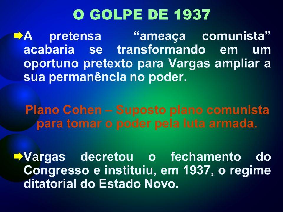 O GOLPE DE 1937 A pretensa ameaça comunista acabaria se transformando em um oportuno pretexto para Vargas ampliar a sua permanência no poder.