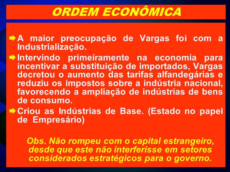 ORDEM ECONÔMICAA maior preocupação de Vargas foi com a Industrialização.