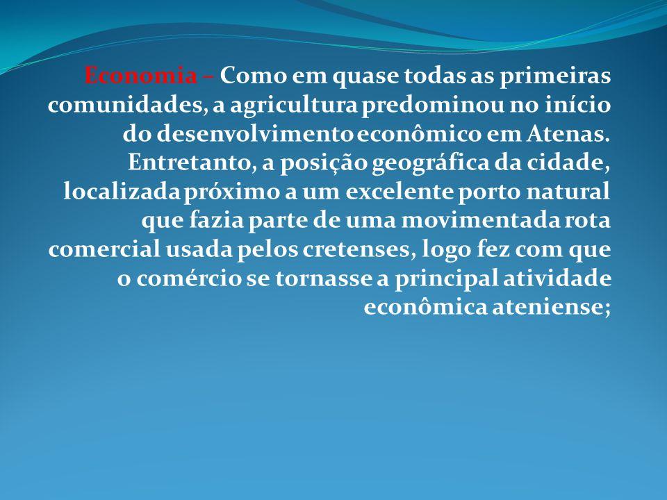 Economia – Como em quase todas as primeiras comunidades, a agricultura predominou no início do desenvolvimento econômico em Atenas.