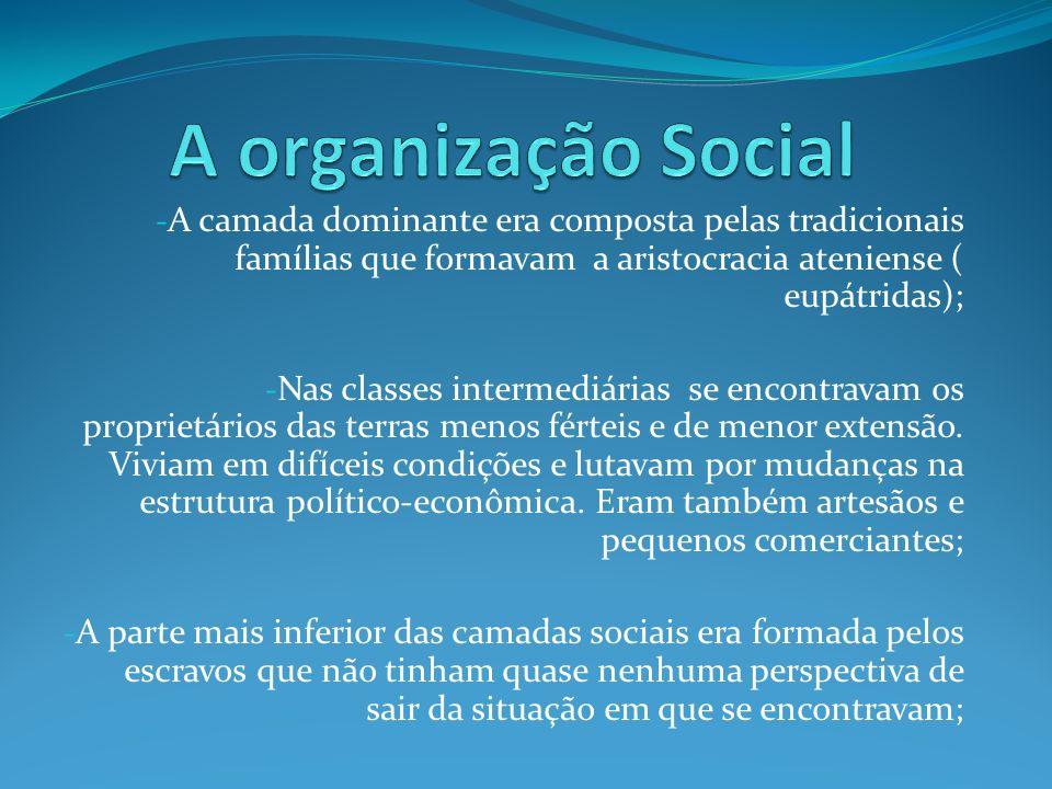 A organização Social A camada dominante era composta pelas tradicionais famílias que formavam a aristocracia ateniense ( eupátridas);
