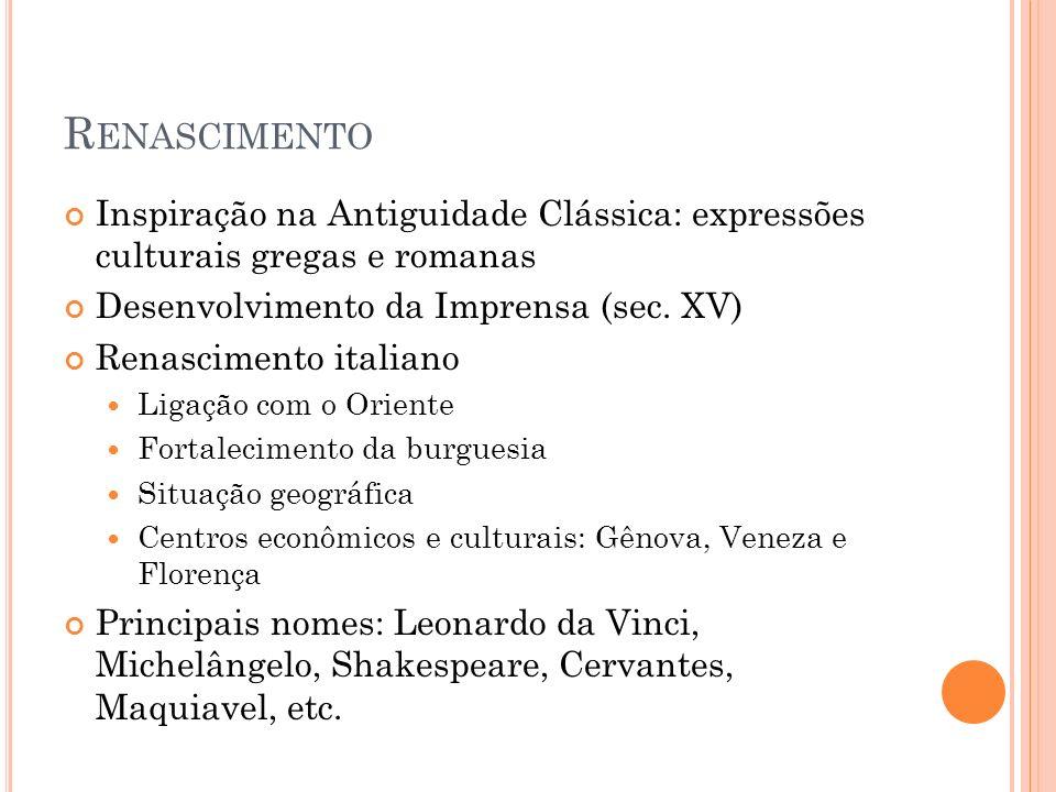 Renascimento Inspiração na Antiguidade Clássica: expressões culturais gregas e romanas. Desenvolvimento da Imprensa (sec. XV)