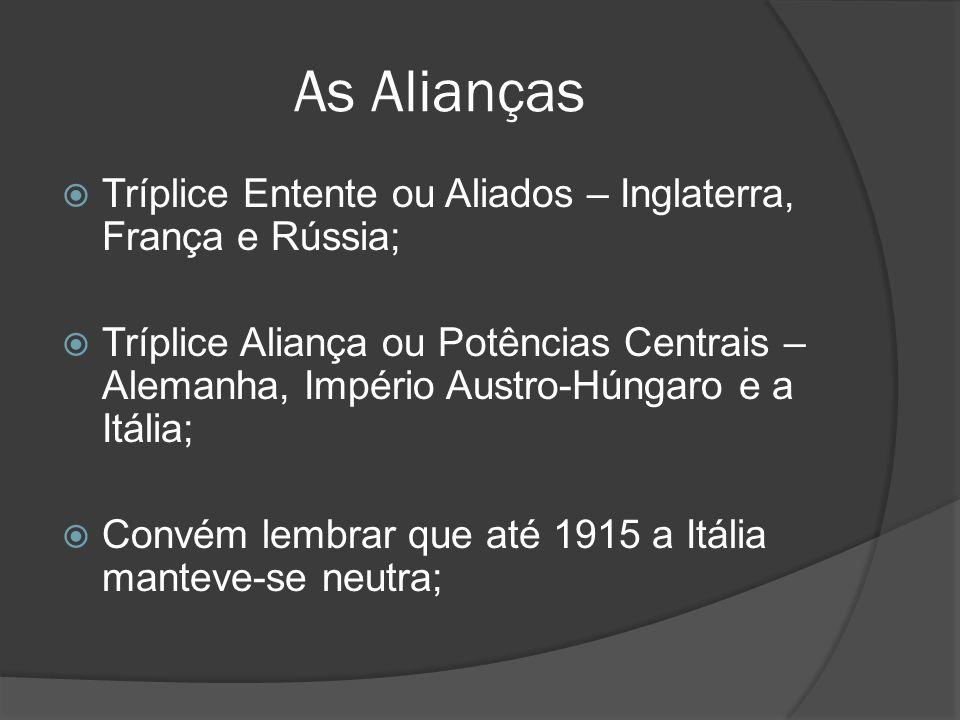 As Alianças Tríplice Entente ou Aliados – Inglaterra, França e Rússia;