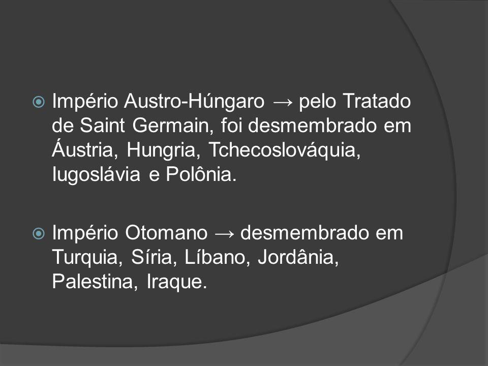 Império Austro-Húngaro → pelo Tratado de Saint Germain, foi desmembrado em Áustria, Hungria, Tchecoslováquia, Iugoslávia e Polônia.