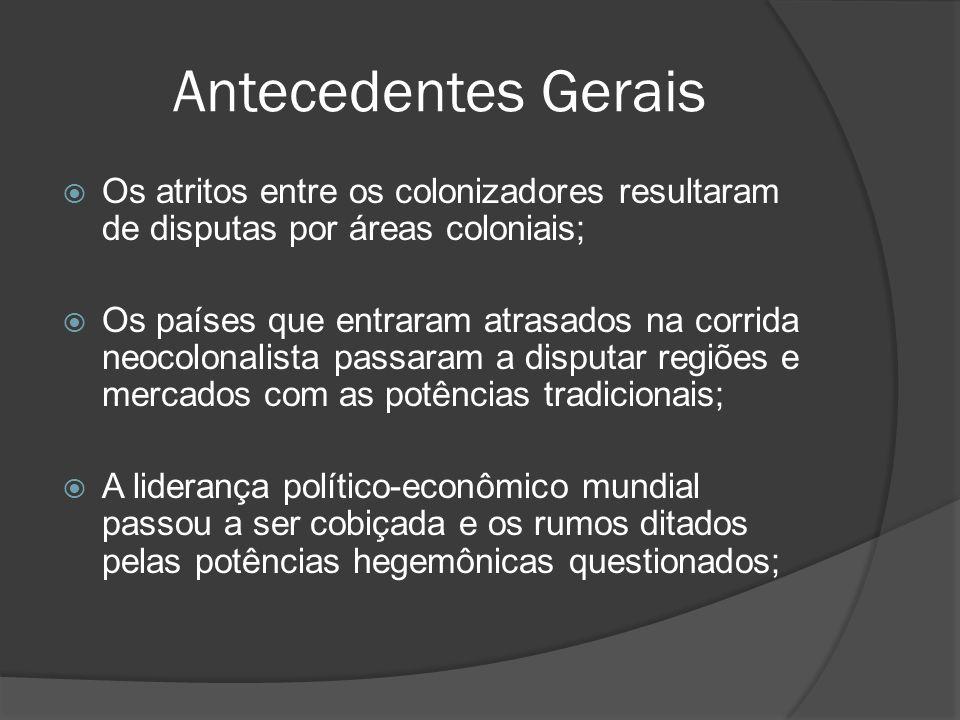 Antecedentes Gerais Os atritos entre os colonizadores resultaram de disputas por áreas coloniais;