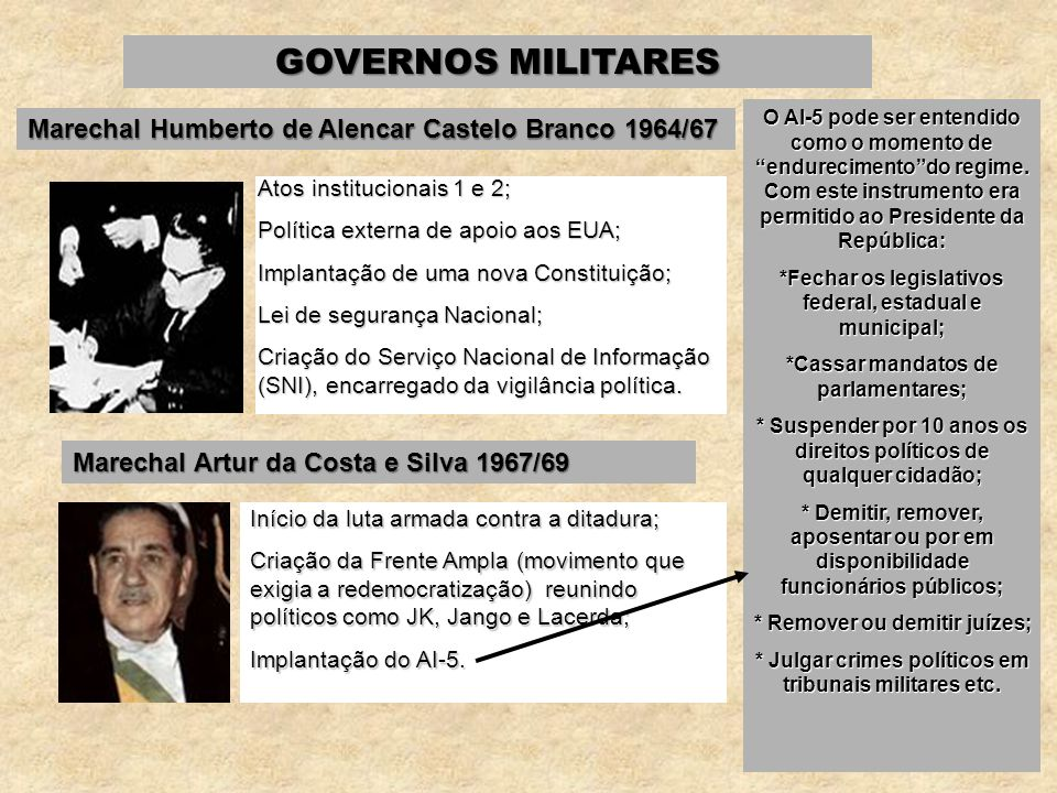 GOVERNOS MILITARES Marechal Humberto de Alencar Castelo Branco 1964/67