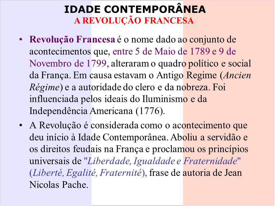 Revolução Francesa é o nome dado ao conjunto de acontecimentos que, entre 5 de Maio de 1789 e 9 de Novembro de 1799, alteraram o quadro político e social da França. Em causa estavam o Antigo Regime (Ancien Régime) e a autoridade do clero e da nobreza. Foi influenciada pelos ideais do Iluminismo e da Independência Americana (1776).