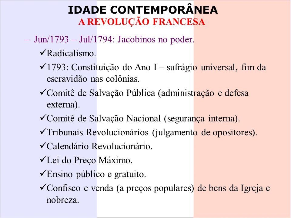 Jun/1793 – Jul/1794: Jacobinos no poder.