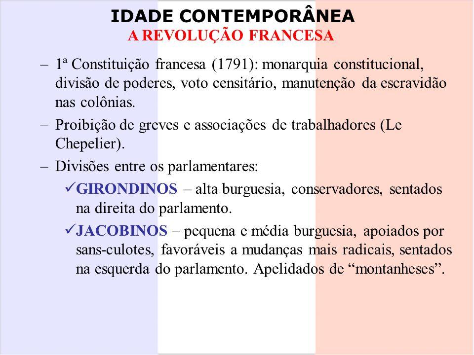 1ª Constituição francesa (1791): monarquia constitucional, divisão de poderes, voto censitário, manutenção da escravidão nas colônias.