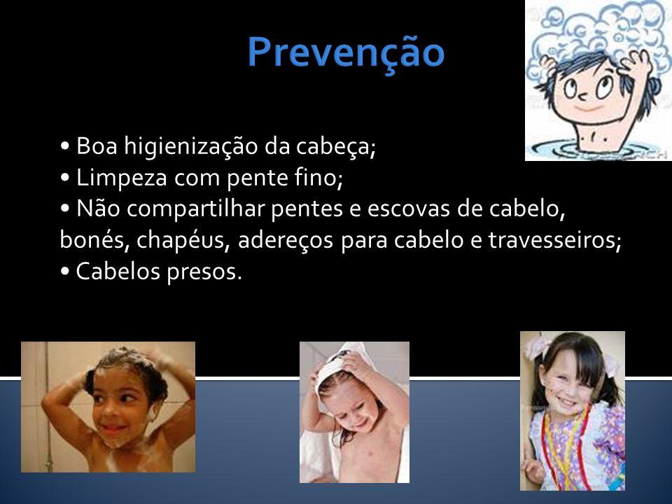 Prevenção • Boa higienização da cabeça; • Limpeza com pente fino;