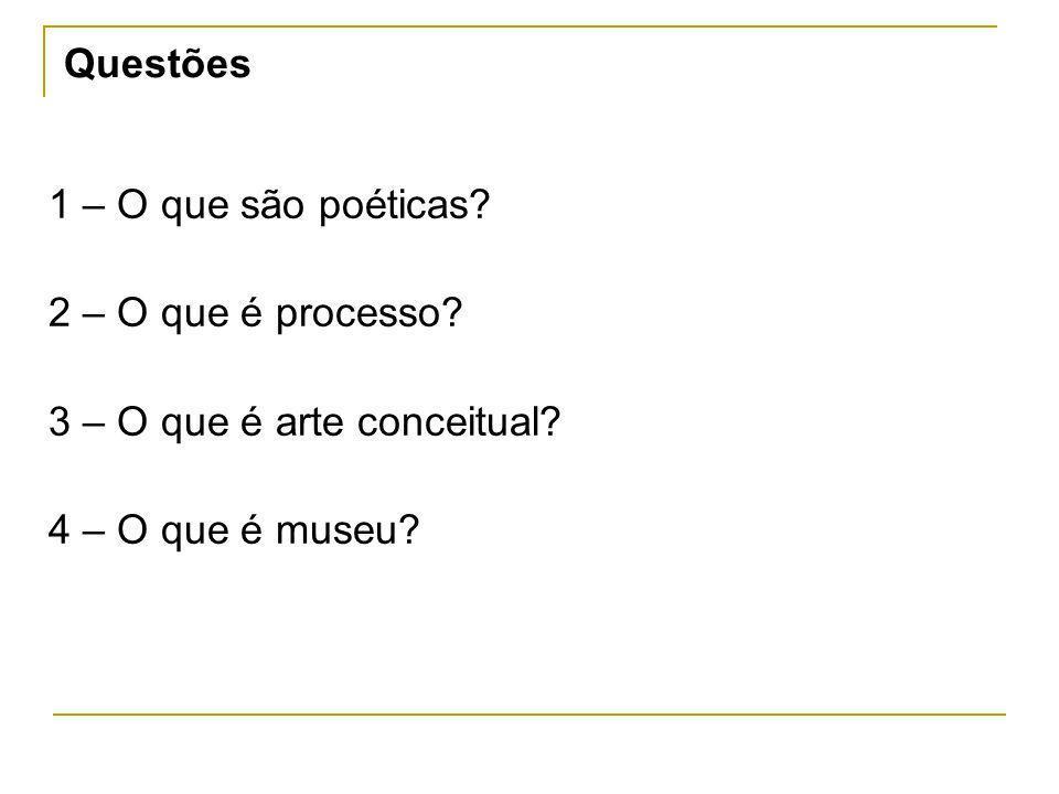 Questões1 – O que são poéticas.2 – O que é processo.