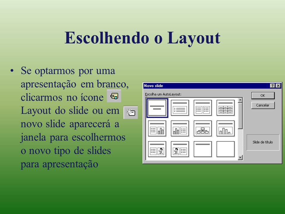 Escolhendo o Layout