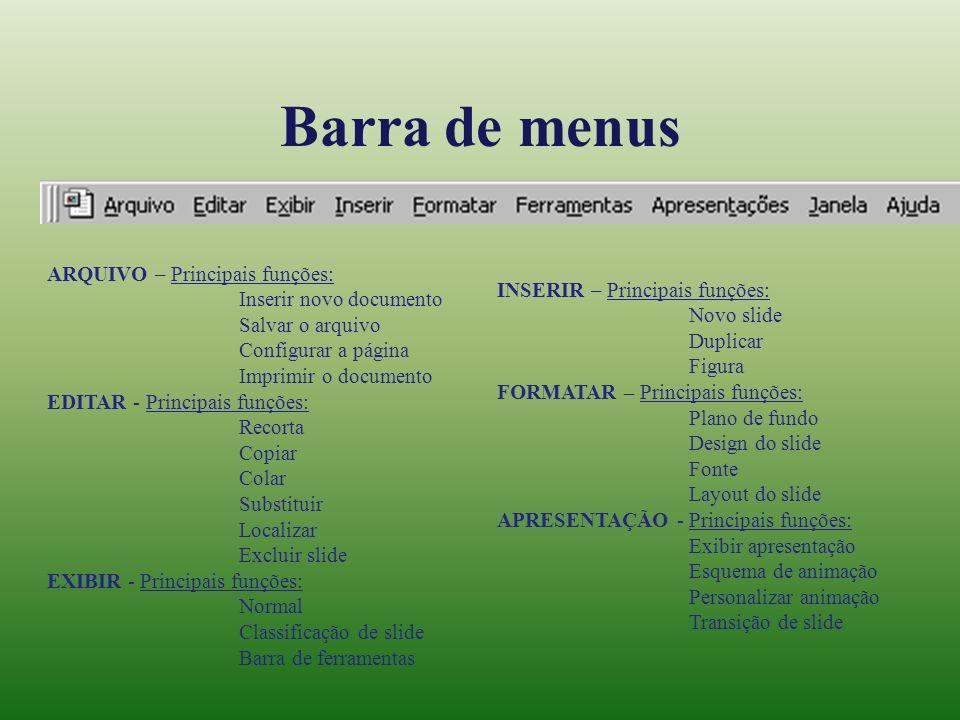 Barra de menus ARQUIVO – Principais funções: Inserir novo documento