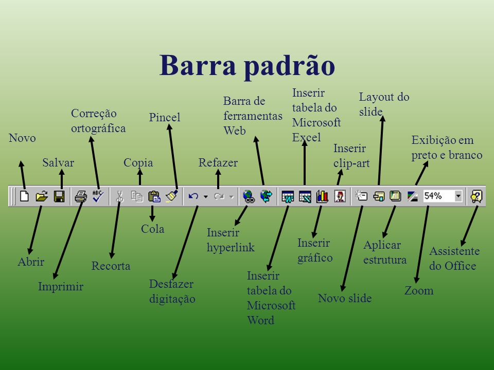 Barra padrão Inserir tabela do Microsoft Excel Layout do slide