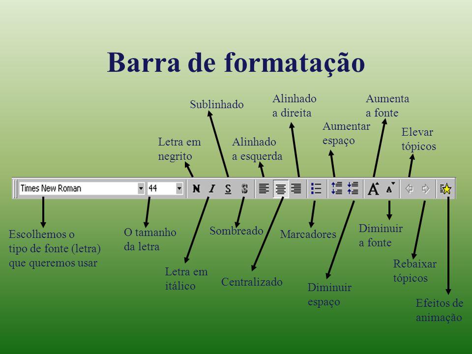 Barra de formatação Alinhado a direita Aumenta a fonte Sublinhado