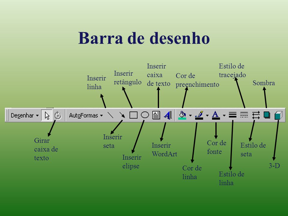 Barra de desenho Inserir caixa de texto Estilo de tracejado Inserir