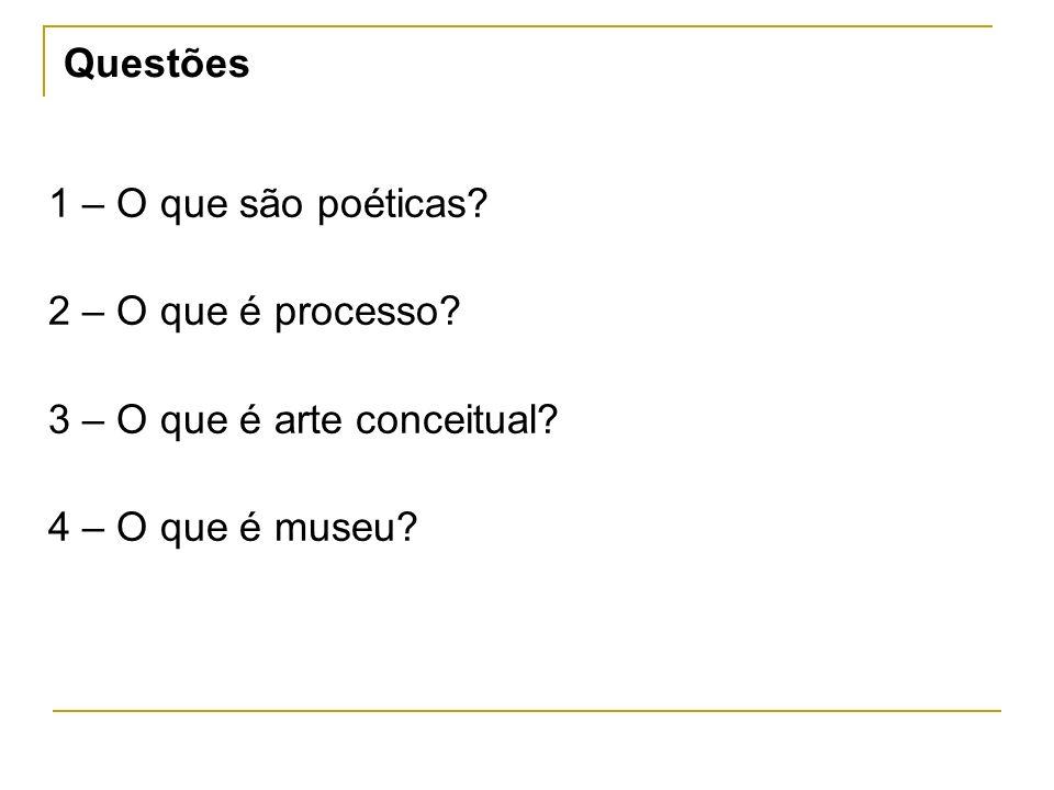 Questões 1 – O que são poéticas. 2 – O que é processo.