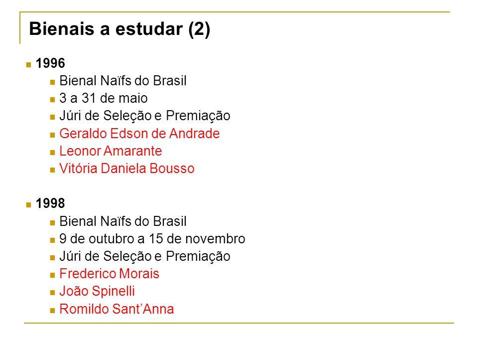 Bienais a estudar (2) 1996 Bienal Naïfs do Brasil 3 a 31 de maio