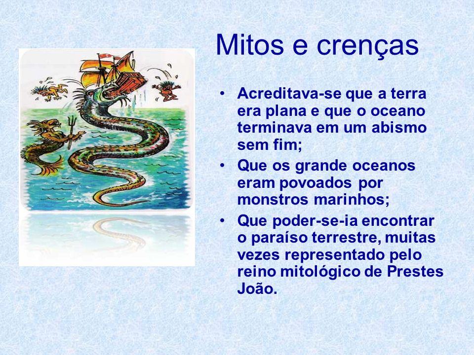 Mitos e crenças Acreditava-se que a terra era plana e que o oceano terminava em um abismo sem fim;