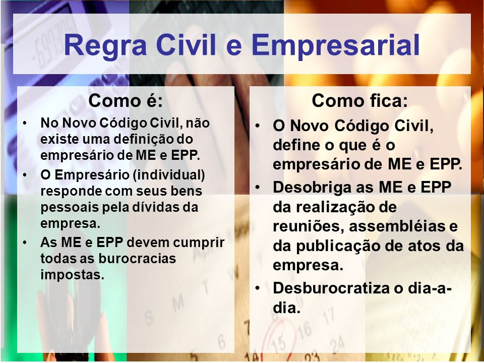 Regra Civil e Empresarial