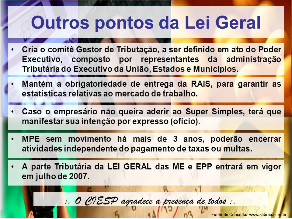 Outros pontos da Lei Geral Fonte de Consulta: www.sebrae.com.br