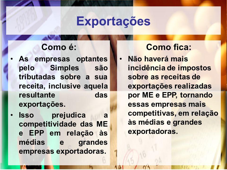 Exportações Como é: Como fica: