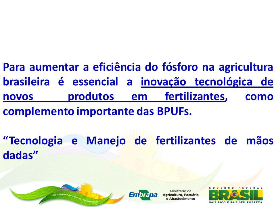 Para aumentar a eficiência do fósforo na agricultura brasileira é essencial a inovação tecnológica de novos produtos em fertilizantes, como complemento importante das BPUFs.