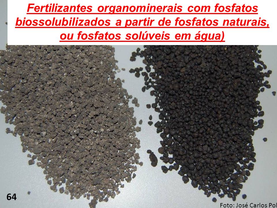 Fertilizantes organominerais com fosfatos biossolubilizados a partir de fosfatos naturais, ou fosfatos solúveis em água)