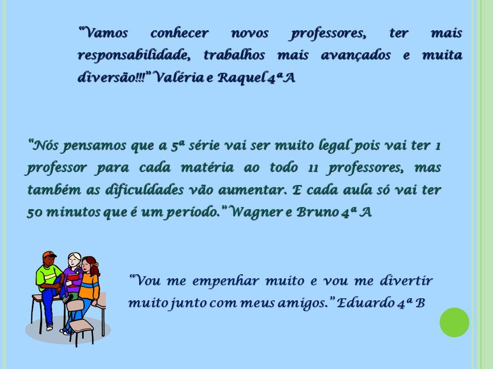 Vamos conhecer novos professores, ter mais responsabilidade, trabalhos mais avançados e muita diversão!!! Valéria e Raquel 4ªA