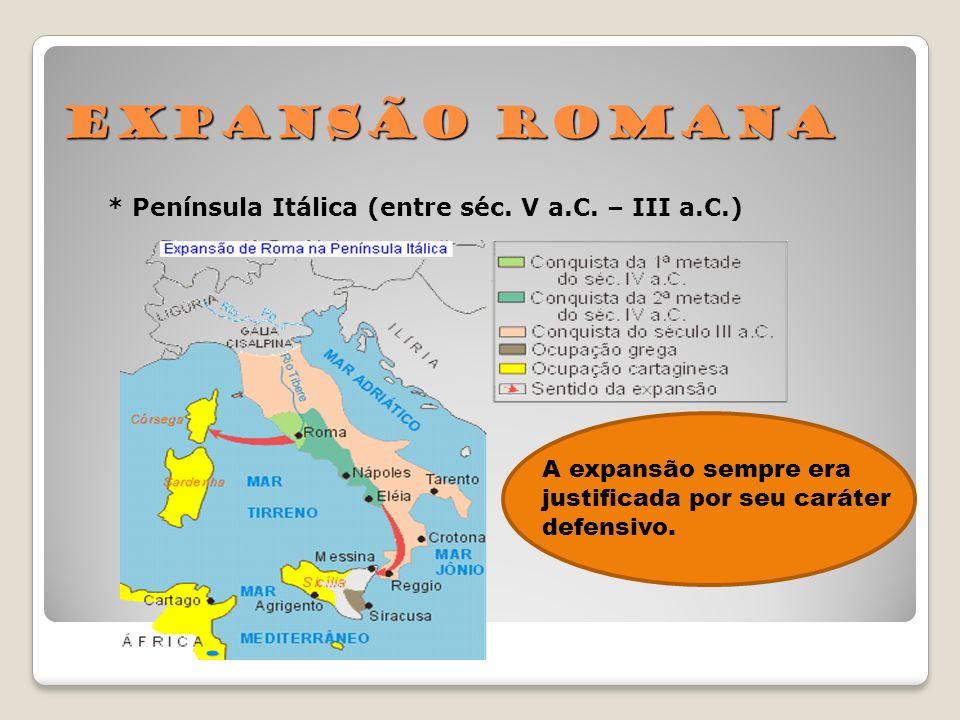 Expansão Romana * Península Itálica (entre séc. V a.C. – III a.C.)