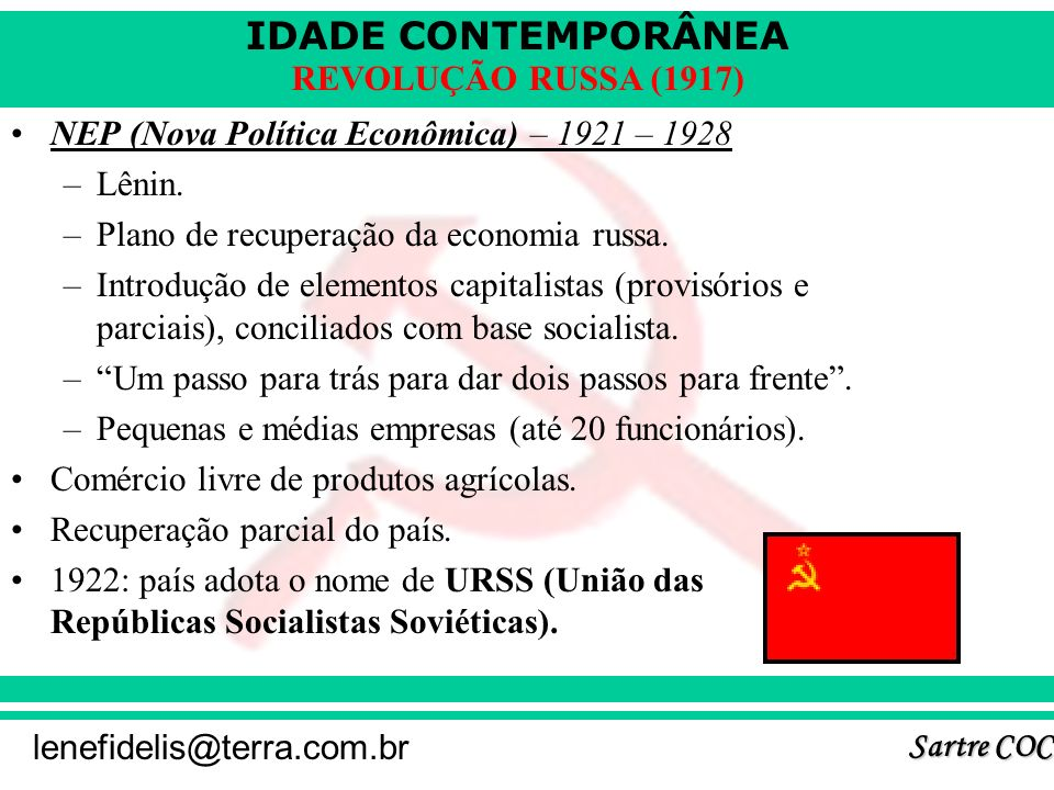 NEP (Nova Política Econômica) – 1921 – 1928