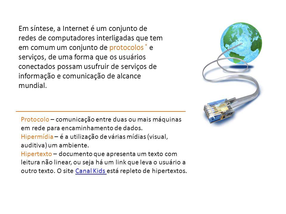 Em síntese, a Internet é um conjunto de redes de computadores interligadas que tem em comum um conjunto de protocolos * e serviços, de uma forma que os usuários conectados possam usufruir de serviços de informação e comunicação de alcance mundial.