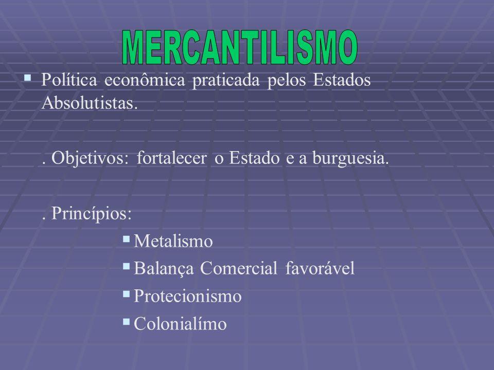 MERCANTILISMO Política econômica praticada pelos Estados Absolutistas.
