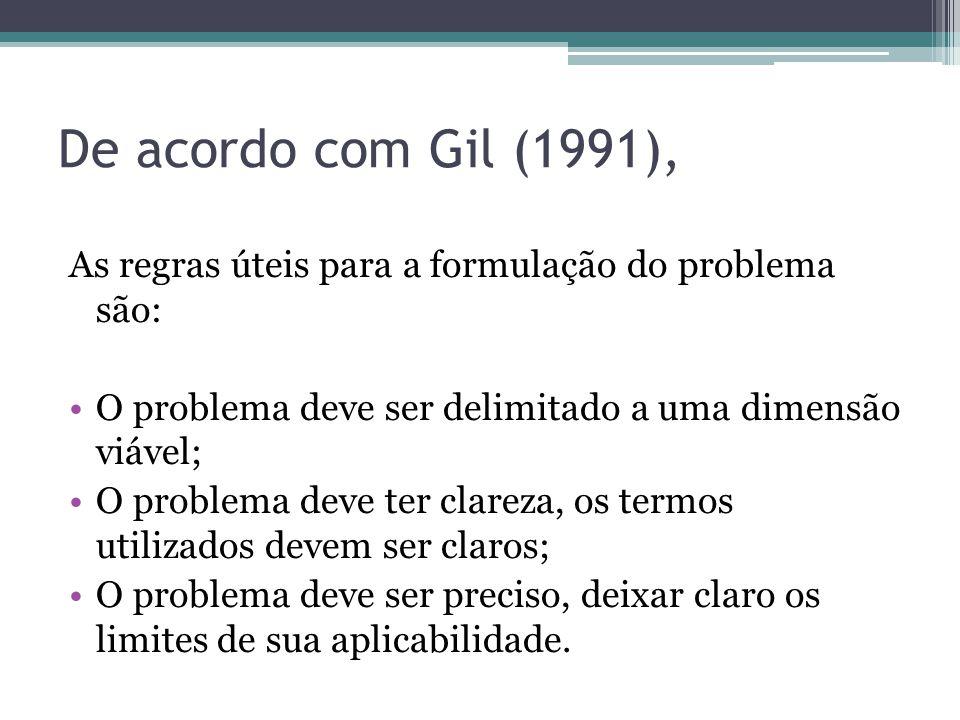 De acordo com Gil (1991), As regras úteis para a formulação do problema são: O problema deve ser delimitado a uma dimensão viável;
