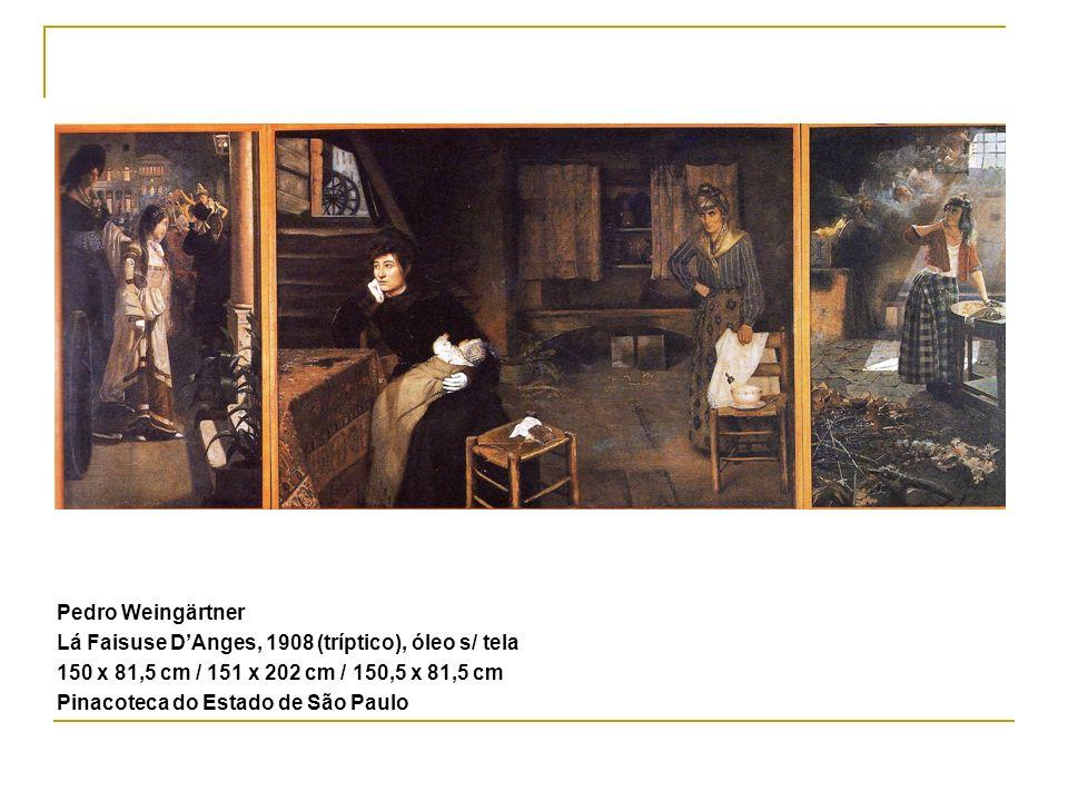 Pedro Weingärtner Lá Faisuse D'Anges, 1908 (tríptico), óleo s/ tela. 150 x 81,5 cm / 151 x 202 cm / 150,5 x 81,5 cm.