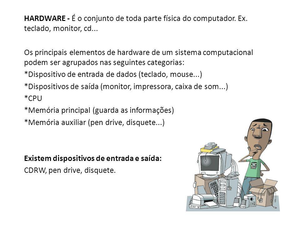 HARDWARE - É o conjunto de toda parte física do computador. Ex